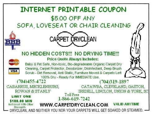 Charlotte Area Coupons Carpet Dryclean Inc